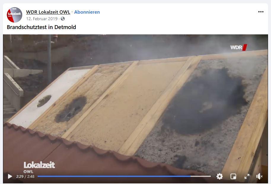 Brandschutztest WDR Lokalzeit
